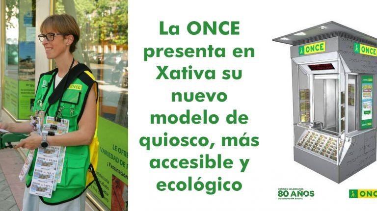La ONCE presenta en Xativa su nuevo modelo de quiosco, más accesible y ecológico